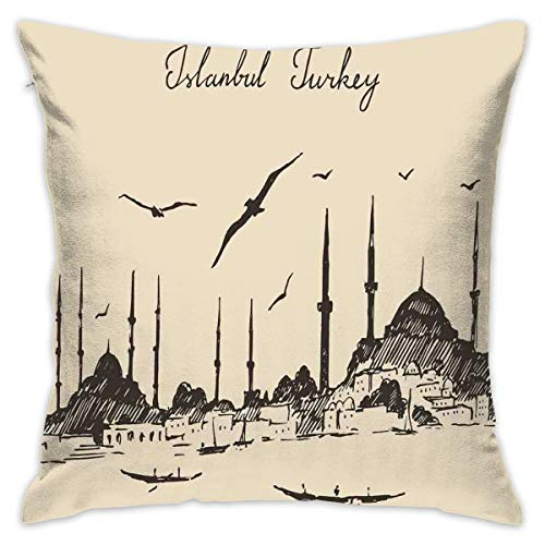 Home Decor Throw Pillow Cushion Cover,Sketch of Retro Istanbul Skyline with Gulls by Bosphorus Ottoman Heritage,Decorative Square Accent Pillow Case,18 X18 Inches