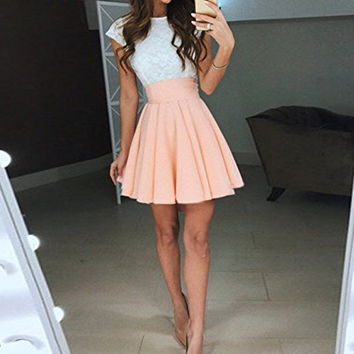 de Sans Dentelle Pliss Mini hibote d'ete Blanche Manche Robe Cocktail Dentelle Cocktail Clair Orange Femme Dentelle Lady Robe Robe Florale Decontracte Femmes Vintage Wq0ASzwPT
