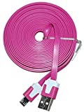 Hot Pink 6 Foot Micro USB Cable For Sony Xperia Z3 Z4 E4 M4 Aqua Z2 C4 Z3+ Ericsson Phone Android Six Feet Extra Long XL
