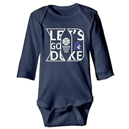 HYRONE Duke Blue Logo Baby Bodysuit Long Sleeve JumpSuit Romper Size 12 Months Navy