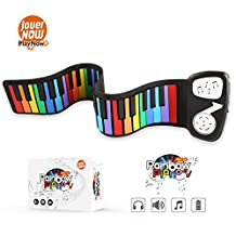JouerNow Rainbow Roll Up Piano, with Music Scores - PLAY by COLOR, 49 Standard Keys with Built-in Speaker, Educational Toy for Beginner, Perfect Gift for Children (White)