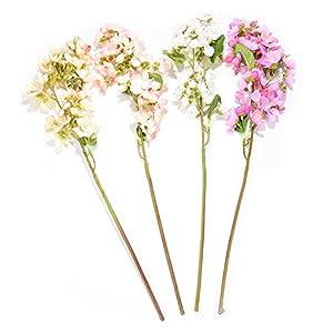 SHZONS Artificial Peach Flowers Bouquet For Home Wedding Decoration, Silk Fake Sakura Peach Blossom Centerpiece arrangements 2PCS 6