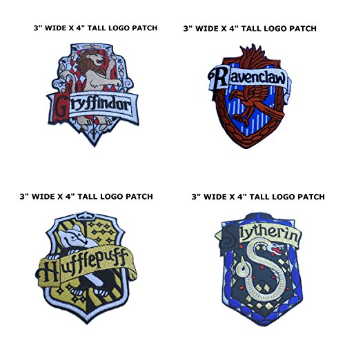 Harry Potter Costumes Diy (Cosplay Harry Potter House Crests 4-Pack DIY Iron or Sew-on Motif Patch)