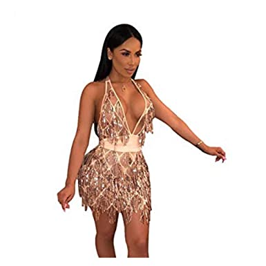 abd41c9af4 AZHONG Women s Sexy Deep V Neck Sequin Beaded Halter Bodycon Mini Nightclub  Party Dress at Amazon Women s Clothing store