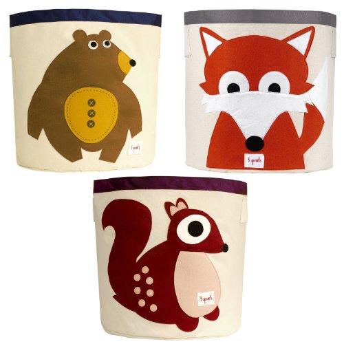 3 Sprouts Storage Bin, 3 Pack - Bear, Fox & Squirrel