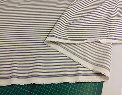 Twill Cotton Lining Fabric Vintage  Style Ticking Stripe Thick Blue Stripe