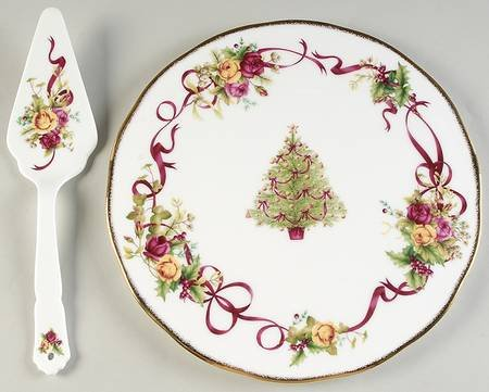 China Old Country Roses Boxed - Royal Albert Old Country Roses-Christmas Tree Cake Plate and Server (Boxed Set), Fine China Dinnerware