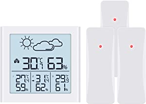 KeeKit [New Version] Indoor Outdoor Thermometer, Weather Forecast Station with 3 Wireless Sensors, Temperature Humidity Monitor with Low Power Indicator, LCD Backlit, Min/Max Record for Home, Office