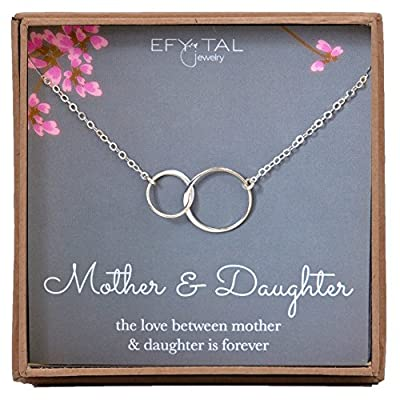 Mother Daughter Necklace - Sterling Silver two interlocking infinity circles, Mothers Day Jewelry Gift