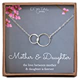 Mother Daughter Necklace - Sterling Silver Two Interlocking Infinity Double Circles, Mothers Day Jewelry Birthday Gift