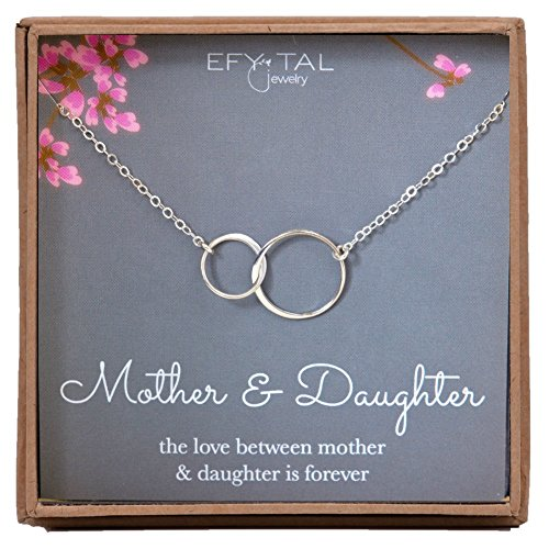 Mother Daughter Necklace - Sterling Silver Two Interlocking Infinity Double Circles, Mothers Day Jewelry Birthday (Mom Daughter Jewelry)