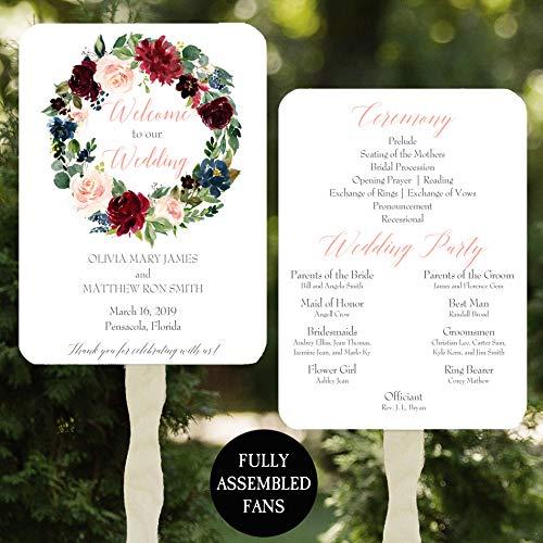 (Wedding Program Fans - Burgundy Floral Wreath - 100 Count Assembled)