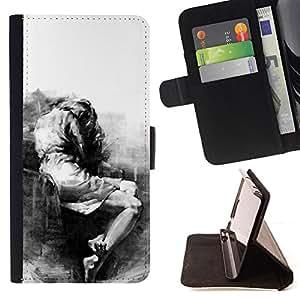 """For LG G4 Stylus / G Stylo / LS770 H635 H630D H631 MS631 H635 H540 H630D H542 ,S-type Triste Llorando Depresión melancólica Heartbreak"""" - Dibujo PU billetera de cuero Funda Case Caso de la piel de la bolsa protectora"""