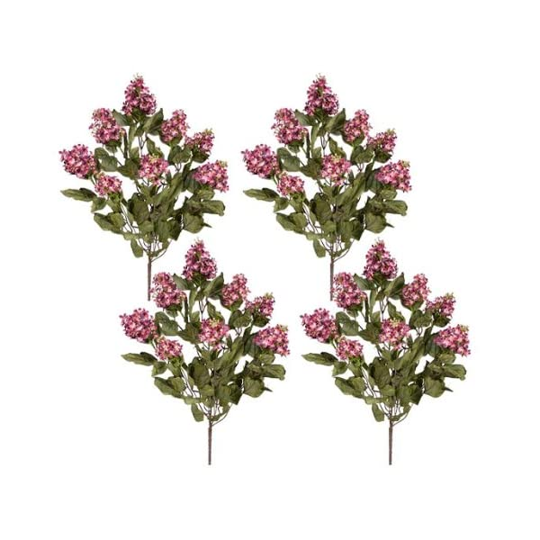 FOUR 24″ Dried Look Lilac Artificial Silk Flower Bushes _Beauty