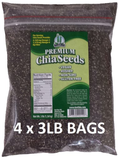 Get Chia Brand BLACK Chia Seeds - 12 TOTAL POUNDS = FOUR x 3 Pound Bags ()