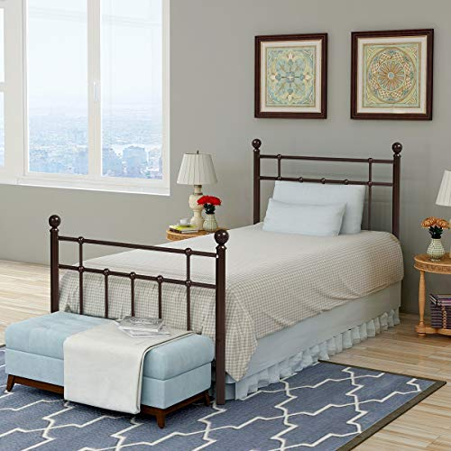 Metal Bed Platform Frame with Steel Headboard and Footboard Mattress Foundation Bedroom Furniture Box Spring Replacement for Kids Adults Victorian Style ... (Antique Bronze, Twin) ()