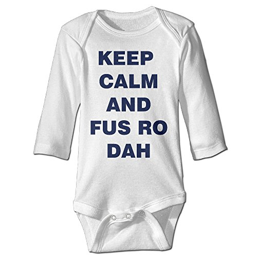 Babycu Baby's Keep Calm And FUS RO DAH Hanging Bodysuit Romper Playsuit Outfits Clothes Climbing Clothes Long -
