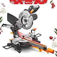 Sliding Mitre Saw 1500W, 24T Blade 210mm, 3M Core Length, 4500RPM, 200mm Extension Bars & Dust Bag, Cutting Angle 0-45°, Powerful Performance +45°/-45°Versatility, Cut Wood & Plastic Tacklife PMS01X
