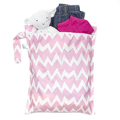 Bumkins impermeable mojado con cremallera bolsa rosa Pink Chevron Gray Chevron