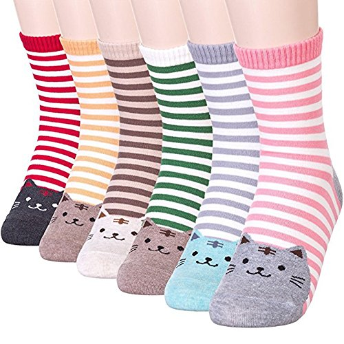 Stripe Cool Dog (Womens Girls Best Socks Collection - Novelty Cute Lovely Animal Character Design Patterned, Perfect Secret Santa Present - Good for Gift Under $20 - One Size Fits All (Stripe Cat 6 Pairs))