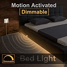 Under Bed Light, WILLED Dimmable Motion Activated Bed Light 5ft LED Strip with Motion Sensor and Power Adapter, Bedroom Night Light Amber for Baby, Crib, Bedside, Stairs, Cabinet and Bathroom