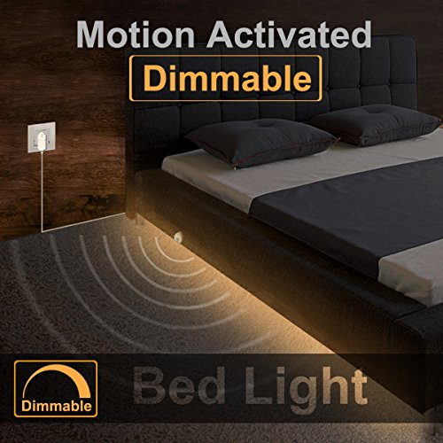 Under Bed Light, Willed Dimmable Motion Activated Bed Light 5ft LED Strip with Motion Sensor and Power Adapter, Bedroom Night Light Amber for Baby, Crib, Bedside, Stairs, Cabinet and (Motion Detector Adapter)