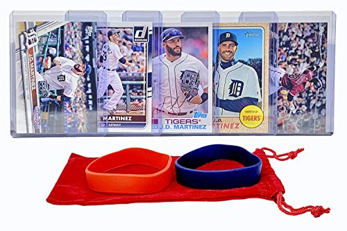 (J. D. Martinez Baseball Cards (5) ASSORTED Boston Red Sox Trading Card and Wristbands Gift Bundle)