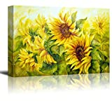"Wall26 Canvas Prints Wall Art - Sunflowers in Oil Painting Style | Modern Wall Decor/ Home Decoration Stretched Gallery Canvas Wrap Giclee Print & Ready to Hang - 24"" x 36"""