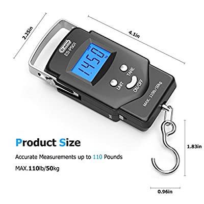 Dr.meter [Backlit LCD Display] PS01 110lb/50kg Electronic Balance Digital Fishing Postal Hanging Hook Scale with Measuring Tape, 2 AAA Batteries Included