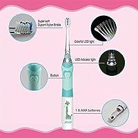 Seago SG 977 - Cepillo de dientes eléctrico para niños, impermeable, reemplazable, con temporizador inteligente,2 cabezales extra suaves para niños (edad de ...