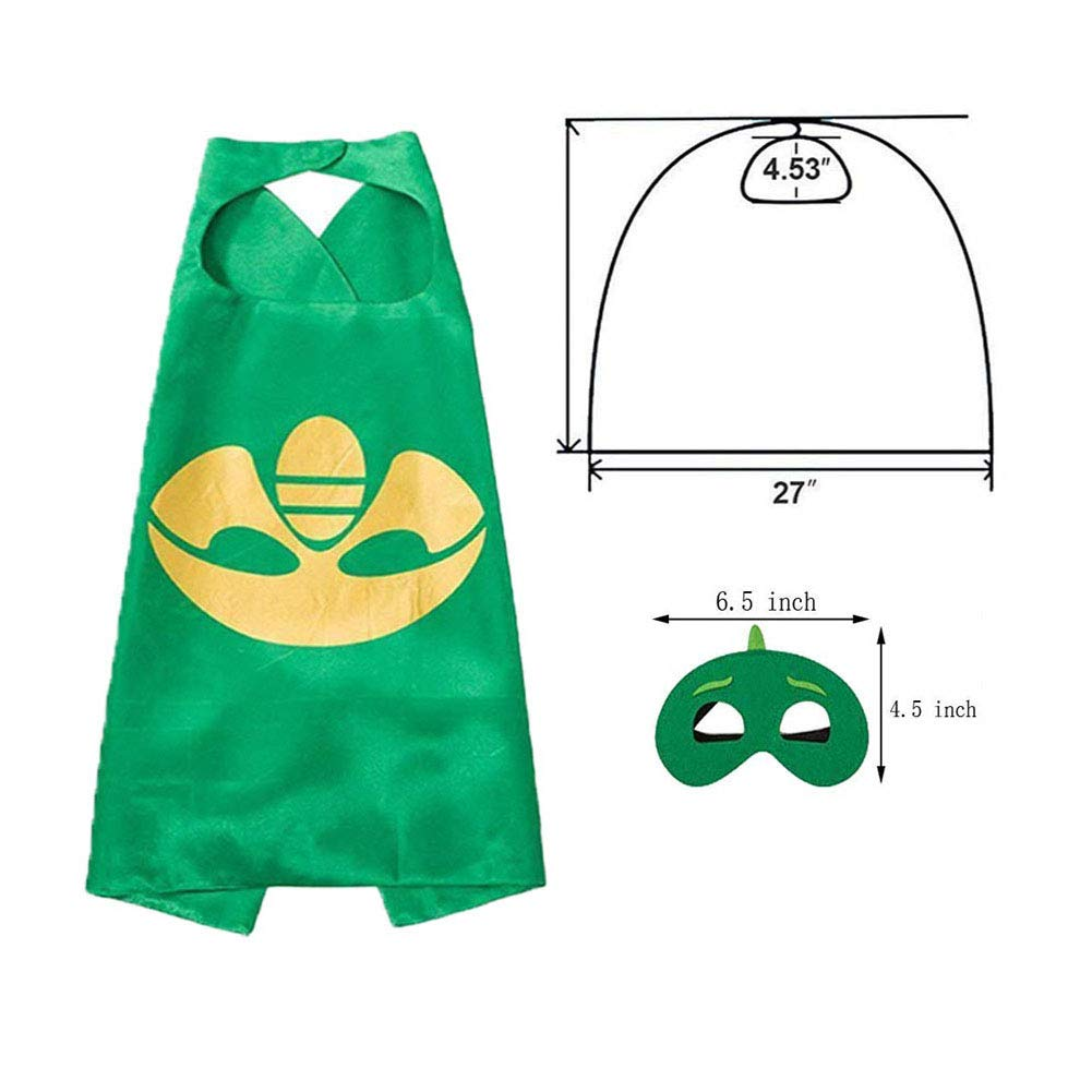5 PCS Catboy Owlette Gekko Capes and Mask Superhero Capes for Kids NuGeriAZ Halloween Costumes for Kids