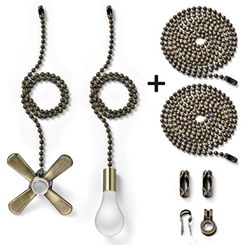 Bronze fan pull chain with 35.4 inches Extension, Kinghouse 2 pcs 13.6 inches 3.2mm Beaded Ball Fan Pull Chain Set including Beaded and Pull Loop Connectors, Holiday Gift Set (Oil -