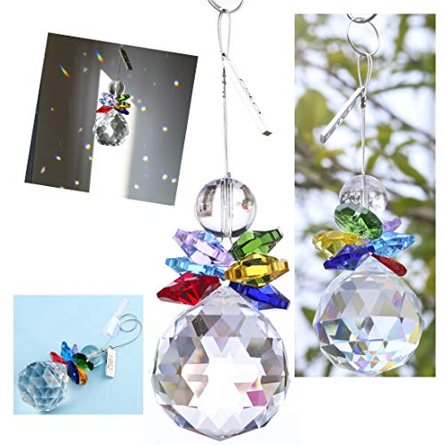 (H&D Crystal Ball Pendant Chandelier Prism Hanging Suncatcher)