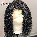 Swetcurly Hair 13x6 Lace Front Curly Synthetic Wigs For Black Women Heat Resistant Short Bob Wigs Natural Hairline with Baby Hair (14 Inch with #1b color)