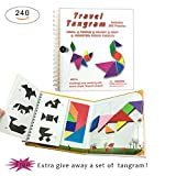 Toys : 240 Puzzles Magnetic Travel Tangram Game Tangrams jigsaw with Answer Kid Adult Challenge IQ Educational Toy For 3-100 Years Old