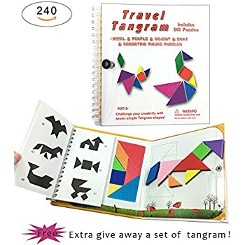 USATDD Magnetic Puzzle Travel Tangram Game Tangrams jigsaw with Solution Answer Kid Adult Challenge IQ Book Educational Toy For 3-100 Years Old