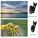 BC Master iPhone Camera Lens kit Pro 58mm, 0.45x 110° wide-angle lens + 15x macro lens,Aluminum alloy, for iPhone, Android, Samsung Mobile Phones and Tablets