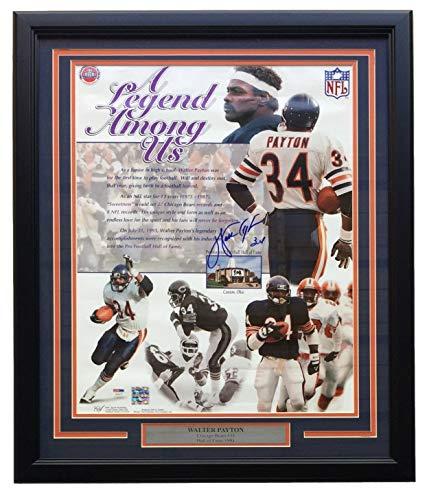 (Walter Payton Chicago Bears Signed Framed 16x20 Legend Among US Photo PSA LOA)