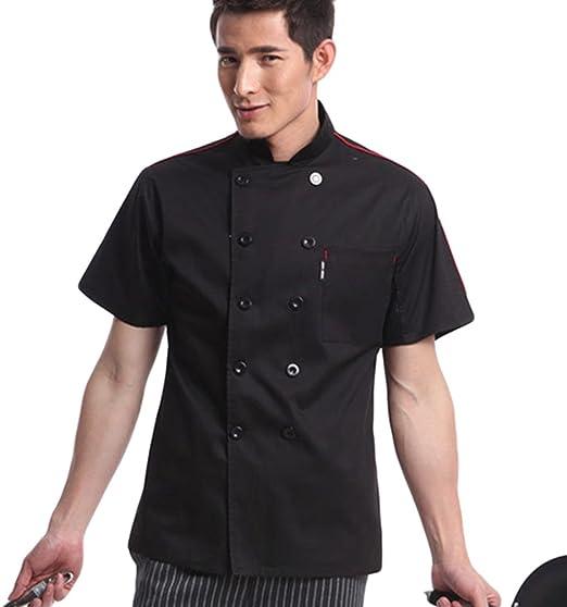 YaaQun Camisa de Cocinero Cocina Uniforme Manga Corta Uniforme de Chef Uniformes de Cocina Negro 3XL: Amazon.es: Hogar