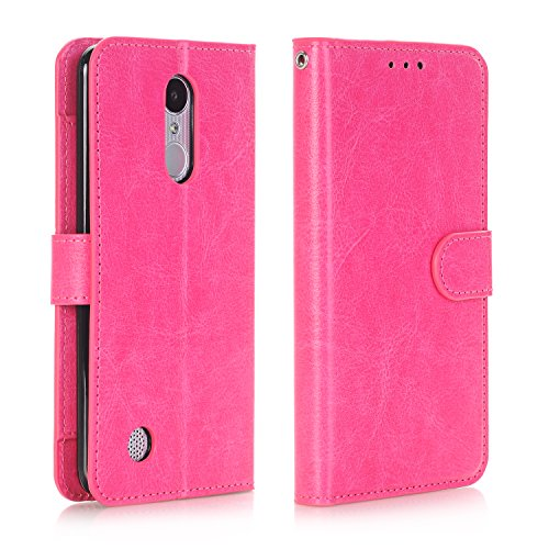 Alkax for LG Aristo Case Wallet,LG Fortune/LG Phoenix 3 / K8 2017 / LV3 / Rebel 2 LTE Case with Kickstand Credit Card Slot Holder PU Leather Flip Folio Protective Cover Magnetic Wrist Strap-Hot Pink -