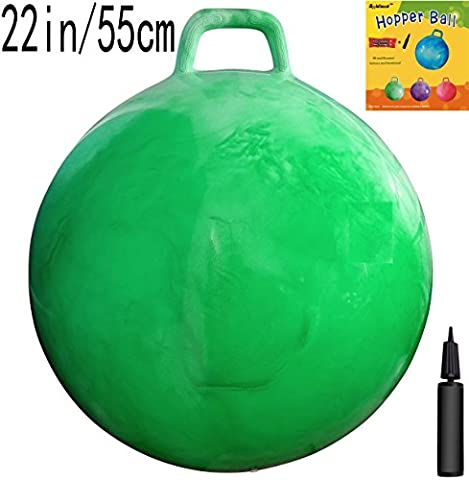 Space Hopper Ball with Air Pump: 22in/55cm Diameter for Ages 10-12, Hop Ball, Kangaroo Bouncer, Hoppity Hop, Jumping Ball, Sit & Bounce