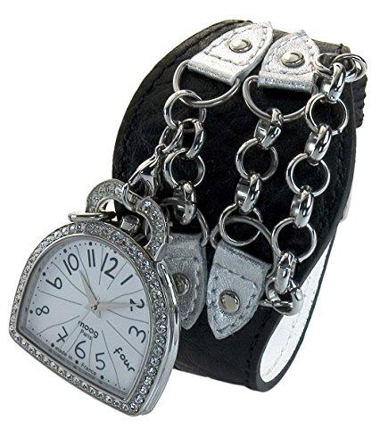 Moog Paris Liberty Women's Watch with White Dial, Black Genuine Leather Strap & Swarovski Elements - M44832-005