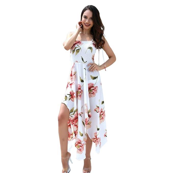 Desshok Mujer Vestidos Largos Verano Elegantes Casual Falda Larga Irregular Moda Estampados Vintage Boho Maxi Vestido