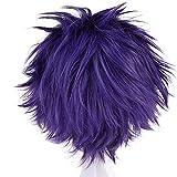 Anogol Hair Cap+Short Wavy Purple Cosplay Wig