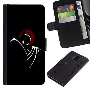 EuroCase - Samsung Galaxy Note 4 SM-N910 - Bat Superhero - Cuero PU Delgado caso cubierta Shell Armor Funda Case Cover