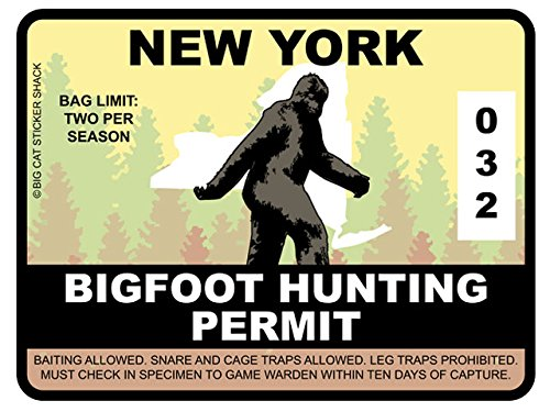 Bigfoot Hunting Permit - NEW YORK (Bumper Sticker)