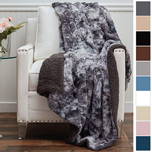 The Connecticut Home Company Original Luxury Faux Fur Throw Blanket, Super Soft, Large Plush Reversible Blankets, Warm & Hypoallergenic Washable Couch/Bed Throws, Microfiber 65x50 (Gray Tie Dye)