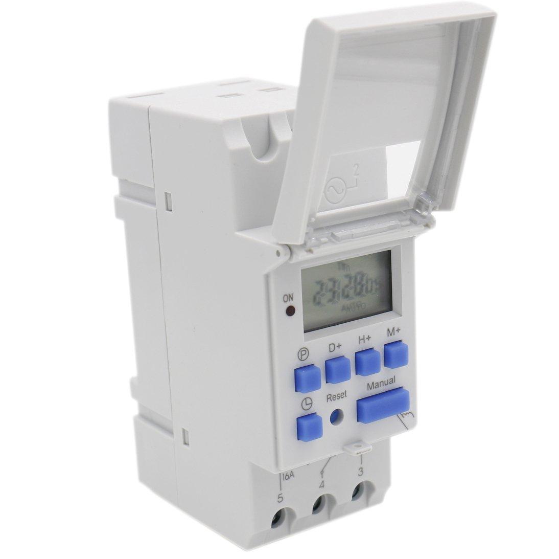 Heschen, interruptor de relé de temporizador semanal de alimentación, Digital, LCD, THC15A, CA 220a240V, 16A SPST, 35mm, carril DIN 16A SPST 35mm Oktimer