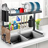 Over the Sink Dish Drying Rack, Stainless Steel Over Sink Dish Drying Rack Adjustable (27.5' - 33.5') for Dishes and Utensils, Kitchen Countertop Organization and Storage