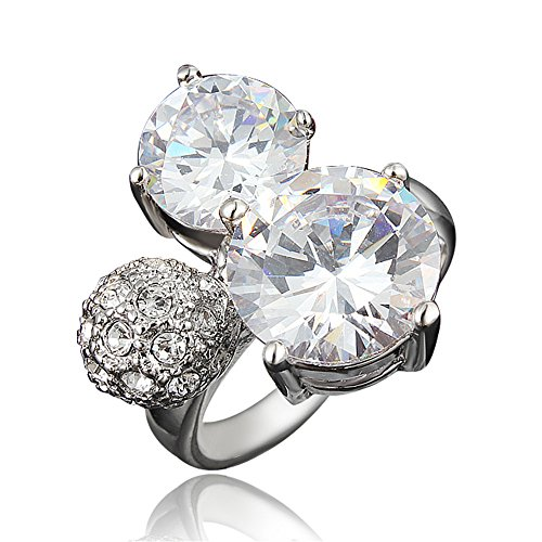 Women Engagement Rings Platinum Plated Diamond Round Shape Wedding Promise Knot Rings for Brides